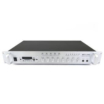 Amplificador de Som Profissional 150W BeMatik 110V 5 Zonas com Fm MP3 AUX MIC Rack