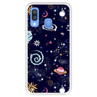 Capa Tpu Hapdey para Samsung Galaxy A40 2019 | Design Padrão de Constelação | Galáxia 2 - Transparente