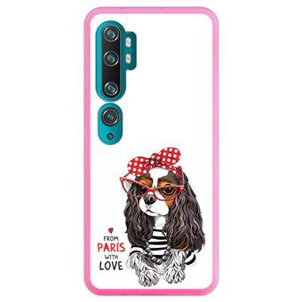 Capa Hapdey para Xiaomi Mi Note 10 - Note 10 Pro - CC9 Pro | Silicone Flexível em TPU | Design Cavalier King Charles Spaniel, de Paris com amor - Rosa