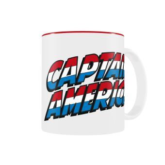 Caneca SD Toys Captain America Logo Branco Vermelho Marvel Comics