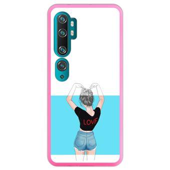 Capa Hapdey para Xiaomi Mi Note 10 - Note 10 Pro - CC9 Pro | Silicone Flexível em TPU | Design Símbolo do coração, o amor está no ar - Rosa