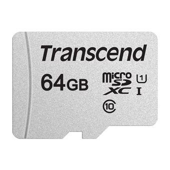 cartão de memória Transcend 300S 64GB MicroSDXC UHS-I Class 10  Prateado