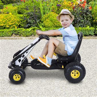 Go Kart HomCom Carro de Pedais Racing Desportivo com Assento Ajustável Embraiagem e Travão 95x66,5x57cm Branco e Preto