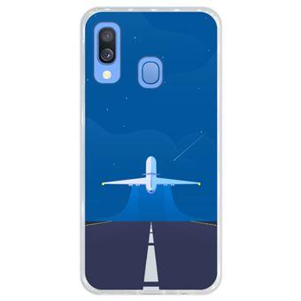 Capa Hapdey para Samsung Galaxy A40 2019 Design Avião a Descolar em Silicone Flexível e TPU