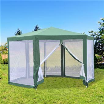 Tenda de Jardim Outsunny com Rede Mosquiteira Verde Poliéster 390 x 250 cm