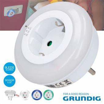 Luz De Presença Grundig com Tomada Branco 9 Leds 3 Cores 230V