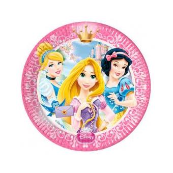 Conjunto 8 Pratos Festa Princesas Disney Glamour