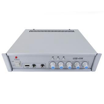 Amplificador de Som Profissional 45W BeMatik 110V 1 Zona com AUX MIC MP3