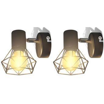 Candeeiro de Parede vidaXL de arame estilo industrial com LED 2x preto