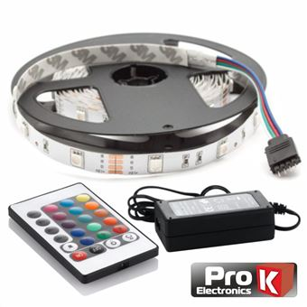 Kit Fita LEDs Prok Fita 300 LEDs 3528 Impermeável 12V 5M Rgb Comcontrol