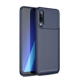 Capa TPU fibra de carbono à prova de choque azul para Samsung Galaxy A50