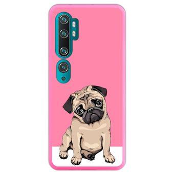 Capa Hapdey para Xiaomi Mi Note 10 - Note 10 Pro - CC9 Pro   Silicone Flexível em TPU   Design Filhotes de cachorro bege Pug posando 1 - Rosa