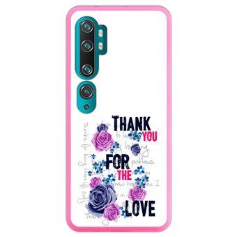 Capa Hapdey para Xiaomi Mi Note 10 - Note 10 Pro - CC9 Pro | Silicone Flexível em TPU | Design Teste padrão floral, obrigado pelo amor - Rosa