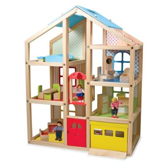 Melissa & Doug Hi-Rise Wooden Dollhouse and Furniture Set Madeira casa de bonecas Multi cor