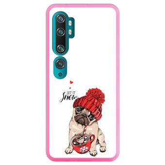 Capa Hapdey para Xiaomi Mi Note 10 - Note 10 Pro - CC9 Pro | Silicone Flexível em TPU | Design Pug adorável filhote de cachorro bege, deixe nevar - Rosa