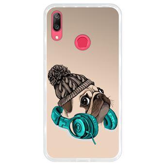 Capa Hapdey para Huawei Y7 2019 - Y7 Prime 2019 Design Hipster Pug A Música é a Minha Fuga em Silicone Flexível e TPU