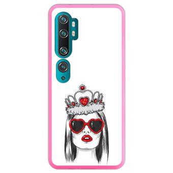 Capa Hapdey para Xiaomi Mi Note 10 - Note 10 Pro - CC9 Pro   Silicone Flexível em TPU   Design Moda e estilo, rainha de copas - Rosa