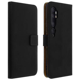 Capa Avizar para Xiaomi Mi Note 10/Note 10 Pro | Couro Autêntico Porta Cartões Suporte - Preto