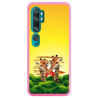 Capa Hapdey para Xiaomi Mi Note 10 - Note 10 Pro - CC9 Pro | Silicone Flexível em TPU | Design Amor selvagem, girafas africanas - Rosa