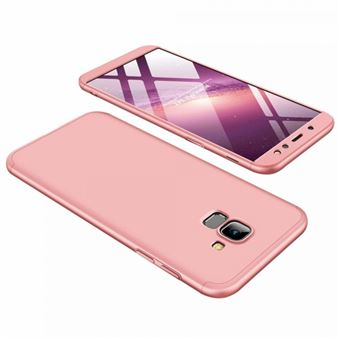 Capa Li-RK Bolsa 360º com Encaixe Superior e Inferior + Película de Vidro Temperado para Samsung Galaxy A6 2018 - Rosa