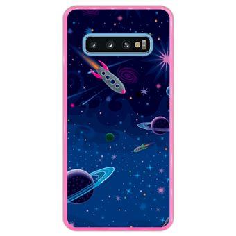Capa Hapdey Para Samsung Galaxy S10 Design Visão Cósmica Planetas e Naves Espaciais Capa de Silicone Flexível Em TPU - Rosa
