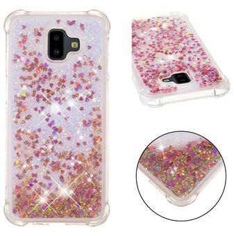 Capa Magunivers TPU glitter quicksand gel à prova de choque dourado rosa para Samsung Galaxy J6 Plus/J6 Prime