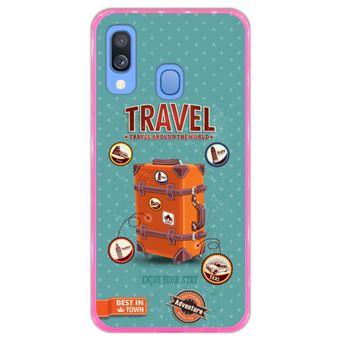 Capa Hapdey para Samsung Galaxy A40 2019 Design Bagagem de Viagem Vintage com Etiquetas em Silicone Flexível e TPU Cor-de-Rosa