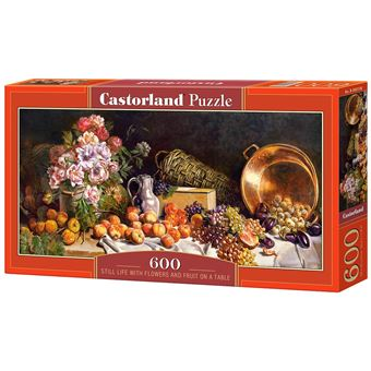 Puzzle Castorland Still life with flowers and fruit on a table 600 pcs 600peça(s)