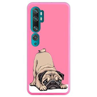 Capa Hapdey para Xiaomi Mi Note 10 - Note 10 Pro - CC9 Pro | Silicone Flexível em TPU | Design Filhotes de Pug bege posando 2 - Rosa