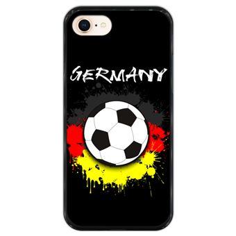 Capa Hapdey para iPhone 7 - 8 Design Bola de Futebol e Cores da Alemanha em Silicone Flexível e TPU Preto