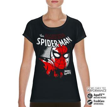 T-shirt de Desporto para Mulher Spider-Man Close Up Performance | Preto | L