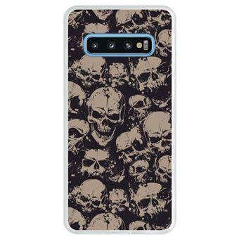 Capa Hapdey Para Samsung Galaxy S10 Design Crânios Padrão Abstrato Capa de Silicone Flexível Em TPU - Transparente