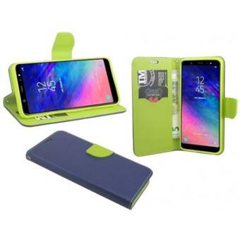 Capa Lmobile Flip Carteira / Livro Fancy para Samsung Galaxy A6 Azul Marinho/Lima