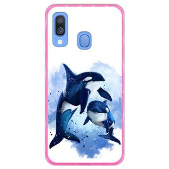 Capa Hapdey para Samsung Galaxy A40 2019 Design Baleias em Silicone Flexível e TPU Cor-de-Rosa