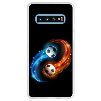 Capa Hapdey Para Samsung Galaxy S10 Design Resumo Fogo e Água Bola de Futebol Capa de Silicone Flexível Em TPU - Transparente