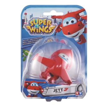 Figura de acção Transform-a-Bot Super Wings Die-cast Jett Metal Azul e Vermelho e Branco