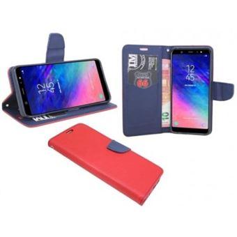 Capa Lmobile Flip Carteira / Livro Fancy para Samsung Galaxy A6 Azul Marinho/Vermelho