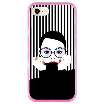 Capa Hapdey para iPhone 7 - 8 Design Mulher Pop Art em Silicone Flexível e TPU Cor-de-Rosa