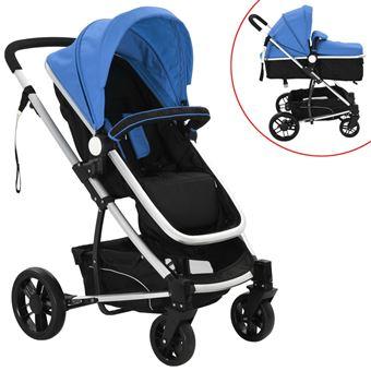 Carrinho de Bebé vidaXL  2 em 1 Alumínio Azul e Preto