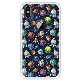 Capa Tpu Hapdey para Iphone X - Xs   Design Invasão Espacial - Transparente