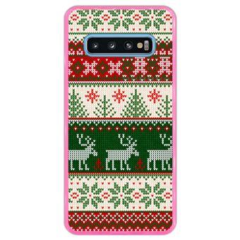 Capa Hapdey Para Samsung Galaxy S10 Design Resumo Padrão de Natal Feliz Ano Novo Capa de Silicone Flexível Em TPU - Rosa