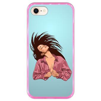 Capa Hapdey para iPhone 7 - 8 Design Hair Flip em Silicone Flexível e TPU Cor-de-Rosa
