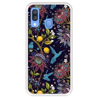 Capa Tpu Hapdey para Samsung Galaxy A40 2019 | Design Teste Padrão Floral com Pássaros 2 - Transparente