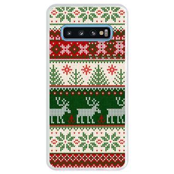 Capa Hapdey Para Samsung Galaxy S10 Design Resumo Padrão de Natal Feliz Ano Novo Capa de Silicone Flexível Em TPU - Transparente