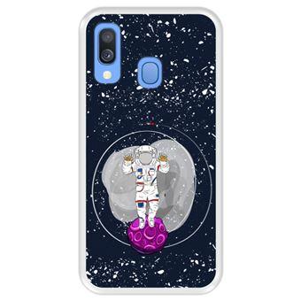 Capa Tpu Hapdey para Samsung Galaxy A40 2019 | Design Cosmonauta No Espaço - Transparente