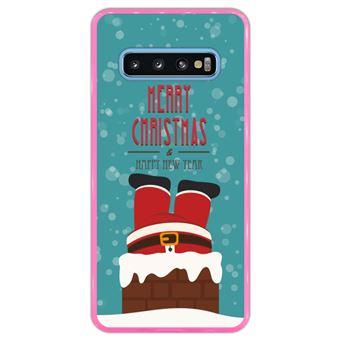 Capa Hapdey Para Samsung Galaxy S10 Design Natal Pai Natal Está Descendo a Chaminé Capa de Silicone Flexível Em TPU - Rosa