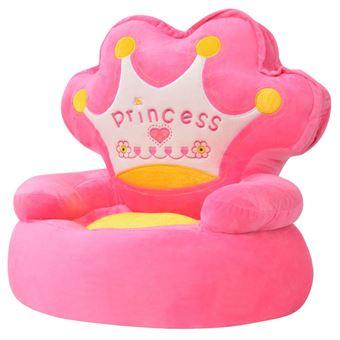 Cadeira em pelúcia vidaXL infantil princesa rosa 53x48x50 cm