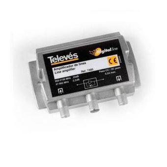 Amplificador Linha Fi Televes 25DB Vs106Dbuv com Passagem Dc.