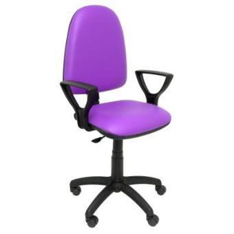 Cadeira Escritório - Piqueras y Crespo Modelo 04CP Estofo em couro sintético-Lilás (c/braços)