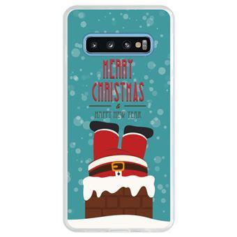 Capa Hapdey Para Samsung Galaxy S10 Design Natal Pai Natal Está Descendo a Chaminé Capa de Silicone Flexível Em TPU - Transparente
